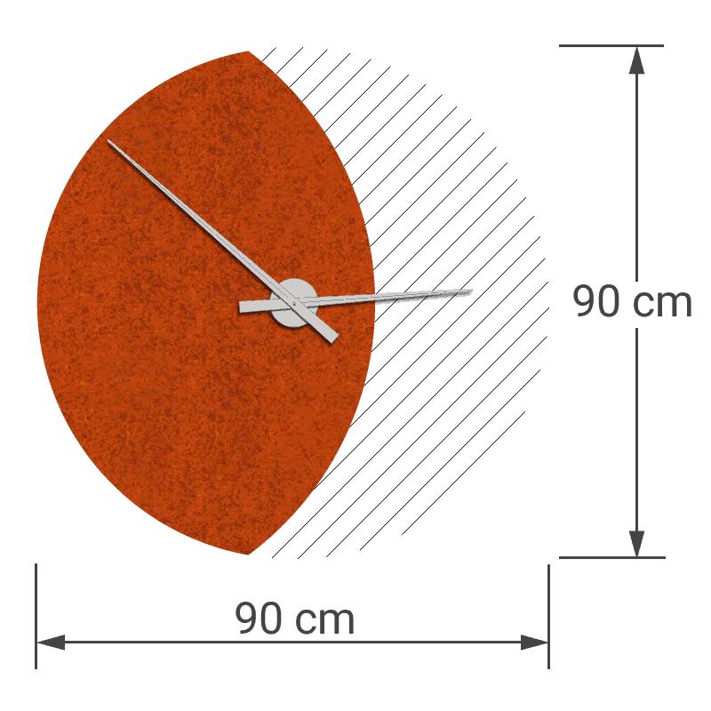 felty Filz Wanduhr Wollfilz auf Vliesplatte zur Wandgestaltung Wohnraum Modell Luna zunehmender Mond Größe L Blatt 01 Farbe A13 orange meliert