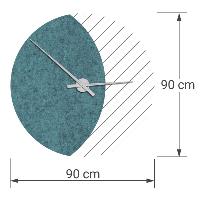 felty Filz Wanduhr Wollfilz auf Vliesplatte zur Wandgestaltung Wohnraum Modell Luna zunehmender Mond Größe L Blatt 01 Farbe A15 pazifik meliert