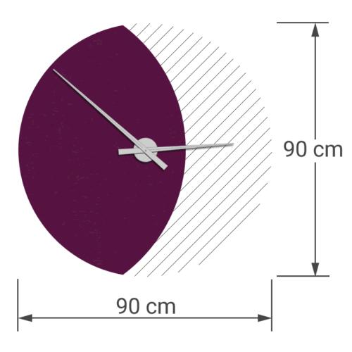 felty Filz Wanduhr Wollfilz auf Vliesplatte zur Wandgestaltung Wohnraum Modell Luna zunehmender Mond Größe L Blatt 01 Farbe A56 violett