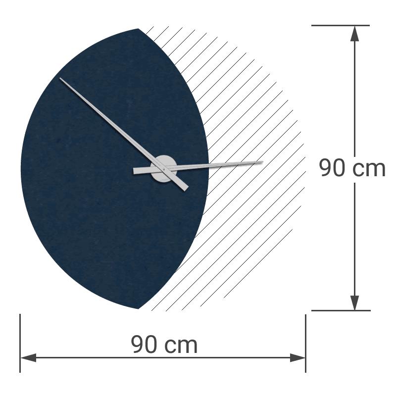 felty Filz Wanduhr Wollfilz auf Vliesplatte zur Wandgestaltung Wohnraum Modell Luna zunehmender Mond Größe L Blatt 01 Farbe A82 stahlblau