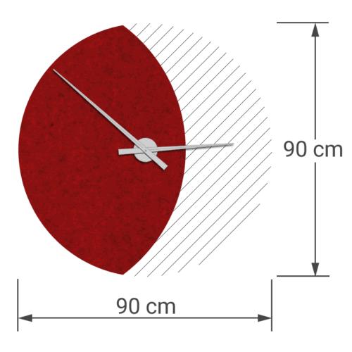 felty Filz Wanduhr Wollfilz auf Vliesplatte zur Wandgestaltung Wohnraum Modell Luna zunehmender Mond Größe L Blatt 01 Farbe A85 granatrot meliert