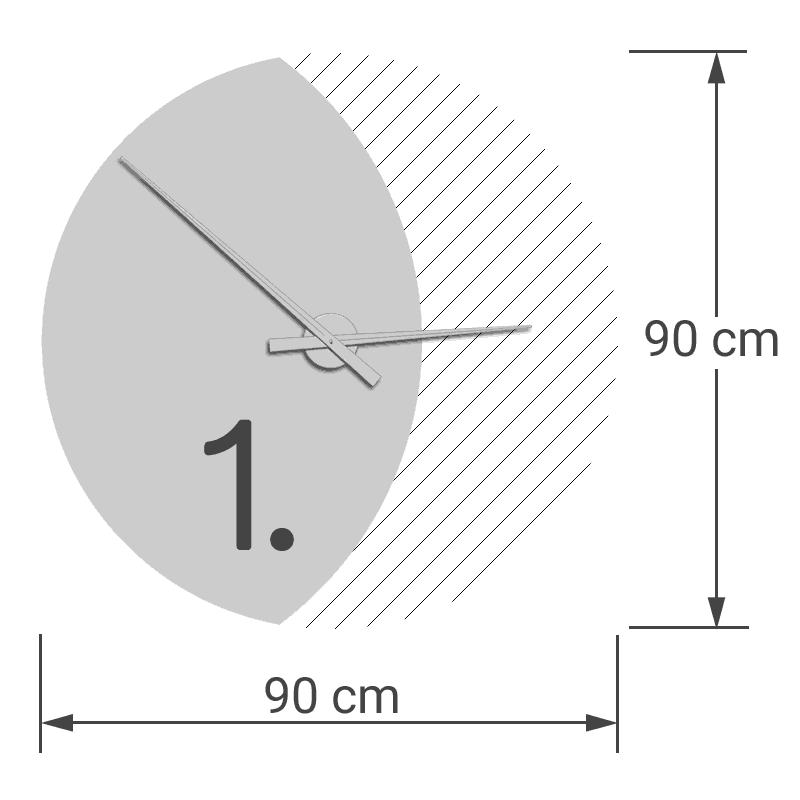 felty Filz Wanduhr Wollfilz auf Vliesplatte zur Wandgestaltung Wohnraum Modell Luna zunehmender Mond Größe L Blatt 01 Modellbeispiel