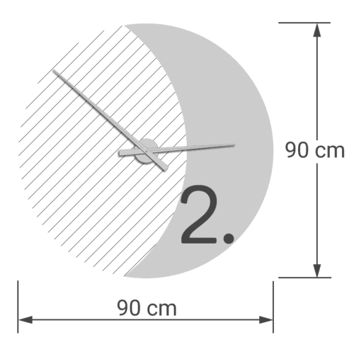 felty Filz Wanduhr Wollfilz auf Vliesplatte zur Wandgestaltung Wohnraum Modell Luna zunehmender Mond Größe L Blatt 02 Modellbeispiel