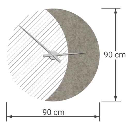 felty Filz Wanduhr Wollfilz auf Vliesplatte zur Wandgestaltung Wohnraum Modell Luna zunehmender Mond Größe L Blatt 02 Farbe A02 beige meliert