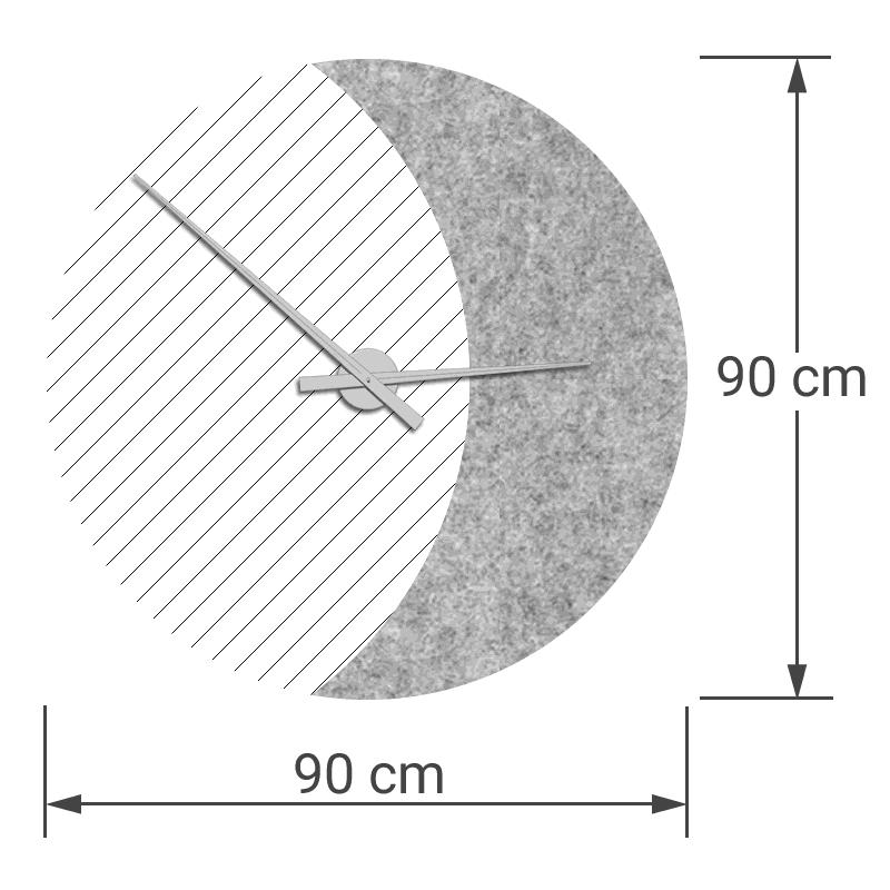 felty Filz Wanduhr Wollfilz auf Vliesplatte zur Wandgestaltung Wohnraum Modell Luna zunehmender Mond Größe L Blatt 02 Farbe A06 hellgrau meliert