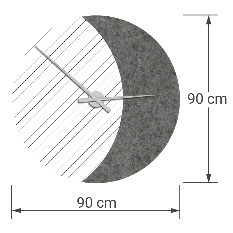 felty Filz Wanduhr Wollfilz auf Vliesplatte zur Wandgestaltung Wohnraum Modell Luna zunehmender Mond Größe L Blatt 02 Farbe A08 quarz meliert