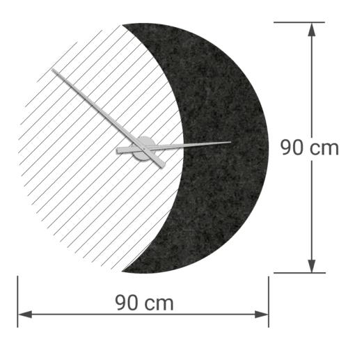 felty Filz Wanduhr Wollfilz auf Vliesplatte zur Wandgestaltung Wohnraum Modell Luna zunehmender Mond Größe L Blatt 02 Farbe A10 schwarz meliert