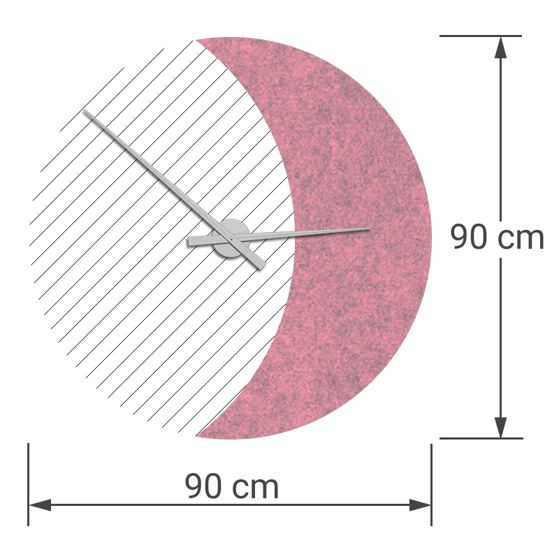 felty Filz Wanduhr Wollfilz auf Vliesplatte zur Wandgestaltung Wohnraum Modell Luna zunehmender Mond Größe L Blatt 02 Farbe A11 rosa meliert