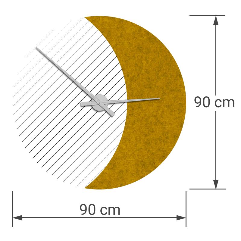 felty Filz Wanduhr Wollfilz auf Vliesplatte zur Wandgestaltung Wohnraum Modell Luna zunehmender Mond Größe L Blatt 02 Farbe A12 senfgelb meliert