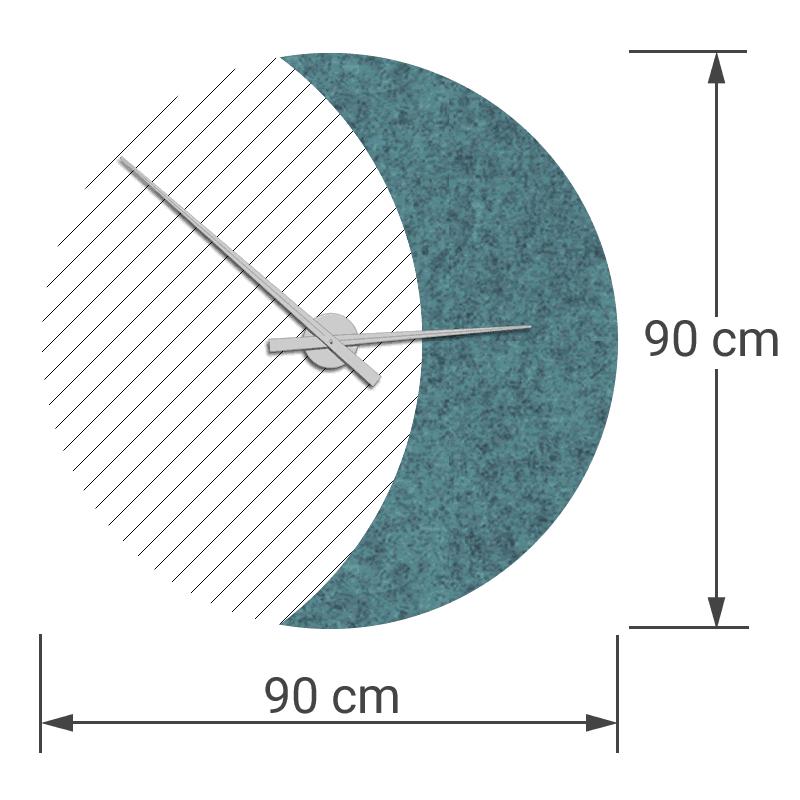 felty Filz Wanduhr Wollfilz auf Vliesplatte zur Wandgestaltung Wohnraum Modell Luna zunehmender Mond Größe L Blatt 02 Farbe A15 pazifik meliert