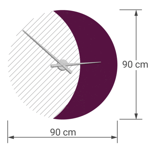 felty Filz Wanduhr Wollfilz auf Vliesplatte zur Wandgestaltung Wohnraum Modell Luna zunehmender Mond Größe L Blatt 02 Farbe A56 violett meliert