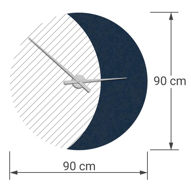 felty Filz Wanduhr Wollfilz auf Vliesplatte zur Wandgestaltung Wohnraum Modell Luna zunehmender Mond Größe L Blatt 02 Farbe A82 stahlblau