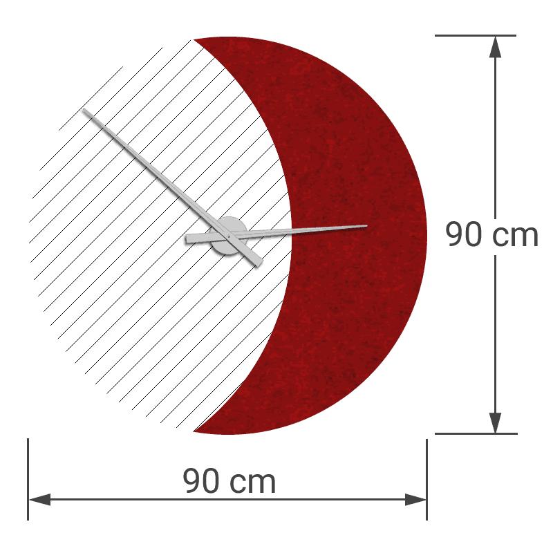 felty Filz Wanduhr Wollfilz auf Vliesplatte zur Wandgestaltung Wohnraum Modell Luna zunehmender Mond Größe L Blatt 02 Farbe A85 granatrot meliert