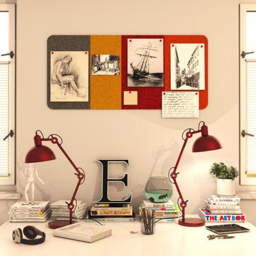 felty Filz Pinnwand Wollfilz auf Vliesplatte zur Wandgestaltung Wohnraum Modell Message Pinnwand Farbkombination aus 4 Farben Szene 01