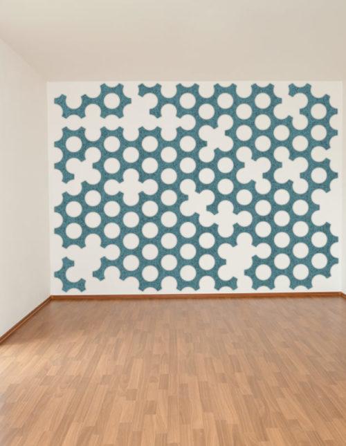 felty Filz Fliese zur Wandgestaltung Wohnraum Modell Bone Größe L Farbe A15 pazifik meliert Wohnzimmer Szene 01