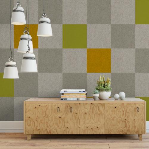 felty Filz Fliese zur Wandgestaltung Wohnraum Modell Pixel Größe L Farbkombination Wohnzimmer Szene 01