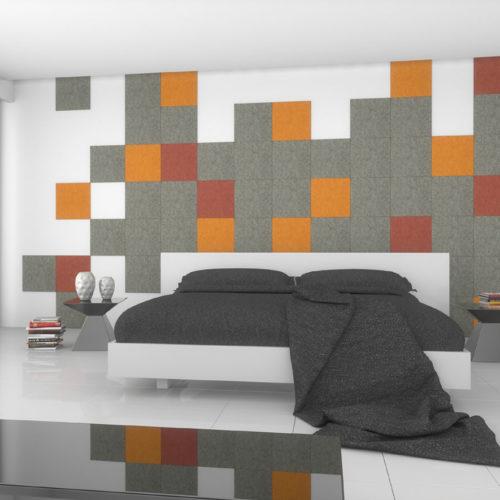 felty Filz Fliese zur Wandgestaltung Wohnraum Modell Pixel Größe L Farbkombination Schlafzimmer Szene 02