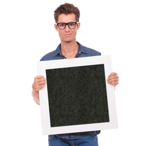 felty Filz Fliese zur Wandgestaltung Wohnraum Modell Pixel Größe L Farbe A10 schwarz meliert Modellbeispiel