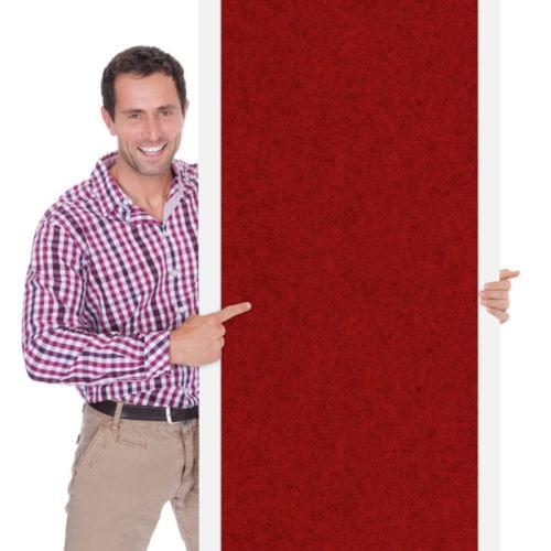 felty Filztapete zur Wandgestaltung Wohnraum, Modell Betty, Farbe granatrot meliert