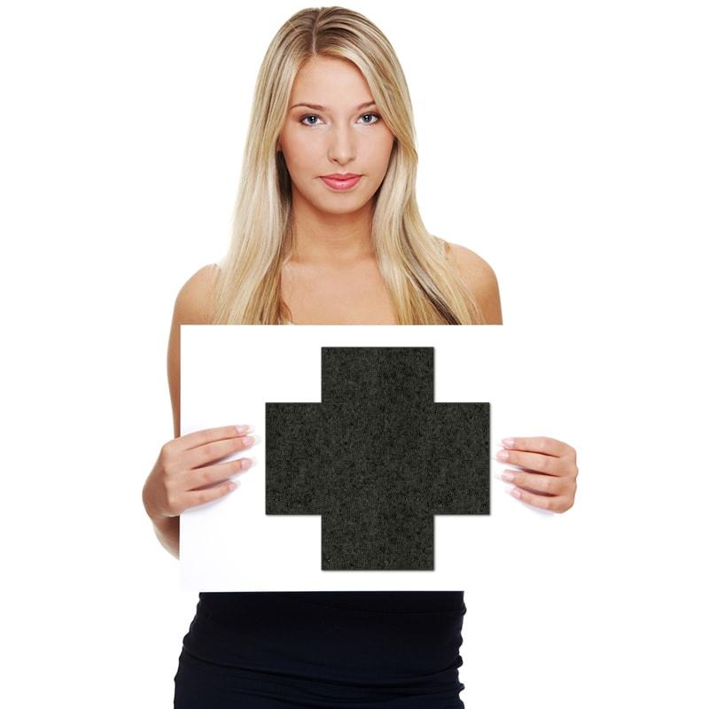 felty Filz Fliese zur Wandgestaltung Wohnraum Modell Addy Größe M Farbe A10 schwarz meliert Modellbeispiel