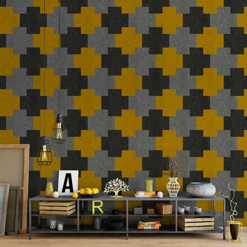felty Filz Fliese zur Wandgestaltung Wohnraum Modell Addy Größe L Farbkombination Wohnzimmer Szene 02