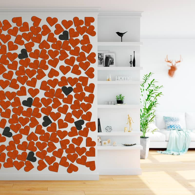 felty Filz Pinnwand Wollfilz auf Vliesplatte zur Wandgestaltung Wohnraum Modell Heart Pinnwand Größe S Szene 01