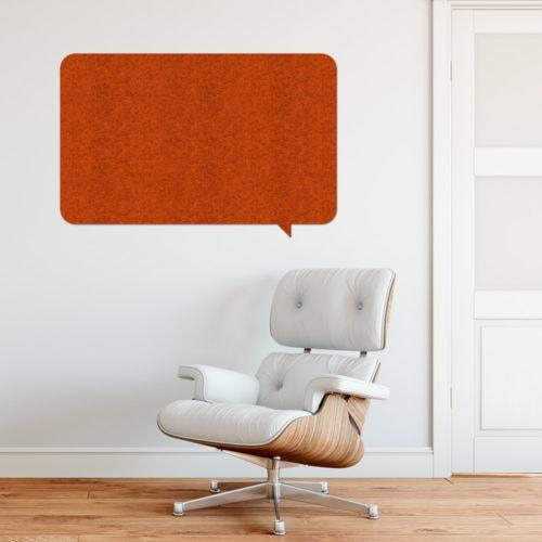 felty Filz Pinnwand Wollfilz auf Leichtschaumplatte zur Wandgestaltung Wohnraum Modell What's Up Rechteck Pinnwand Farbe A13 orange meliert Szene 01