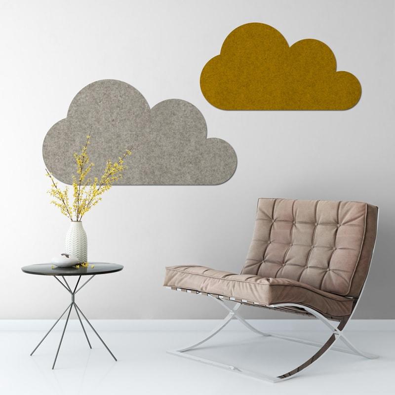 felty Filz Pinnwand Wollfilz auf Vliesplatte zur Wandgestaltung Wohnraum Modell Cloud Pinnwand Farbe A12 senfgelb meliert und A06 hellgrau meliert Szene 01