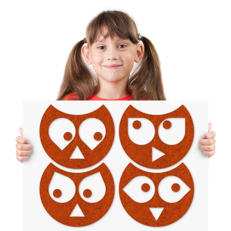 felty Filz Tier zur Wandgestaltung Wohnraum Modell Eule Hedwig Größe M Farbe A13 orange meliert Modellbeispiel