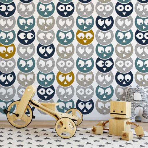 felty Filz Tier Figur zur Wandgestaltung Wohnraum Modell Eule Hedwig Größe M Farbkombination Kinderzimmer Szene 01