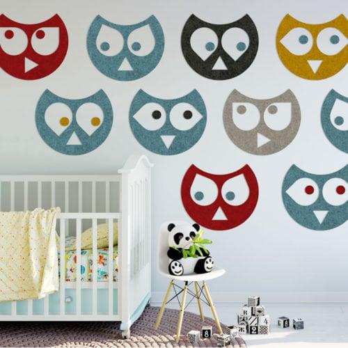 felty Filz Tier Figur zur Wandgestaltung Wohnraum Modell Eule Hedwig Größe L Farbkombination Kinderzimmer Szene 02