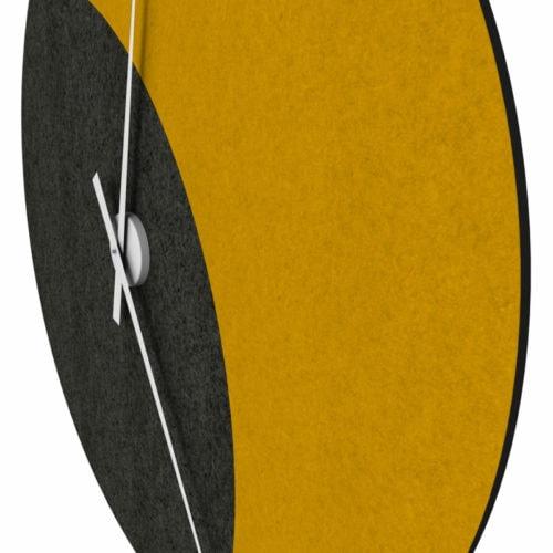 felty Filz Wanduhr zur Wandgestaltung Wohnraum Modell Luna zunehmender Mond Größe L Wollfilz Farbe A10 schwarz meliert A12 senfgelb meliert Detail