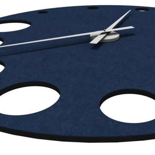felty Filz Wanduhr Wollfilz auf Vliesplatte zur Wandgestaltung Wohnraum Modell Sandra Größe L Farbe A82 stahlblau Detailabbildung 02