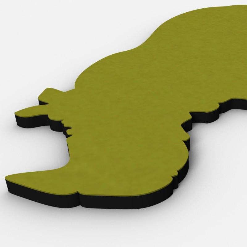 felty Filz Figur Wollfilz auf Vliesplatte zur Wandgestaltung Wohnraum Modell Tier Sam Plus Farbe A12 senfgelb Detailansicht 01