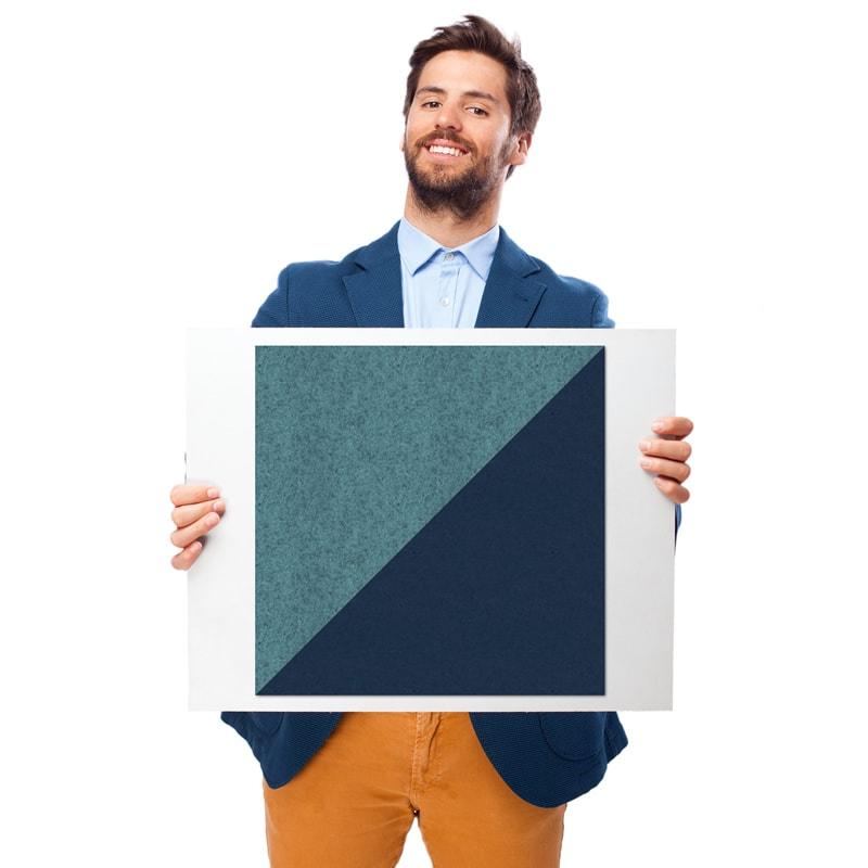 felty Filz Fliese zur Wandgestaltung Wohnraum Modell Brandi Größe M Farbe A15 pazifik meliert und A82 stahlblau Modellbeispiel