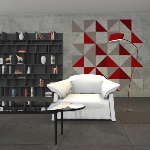 felty Filz Fliese zur Wandgestaltung Wohnraum Modell Brandi Größe M Farbkombination Wohnzimmer Szene 01
