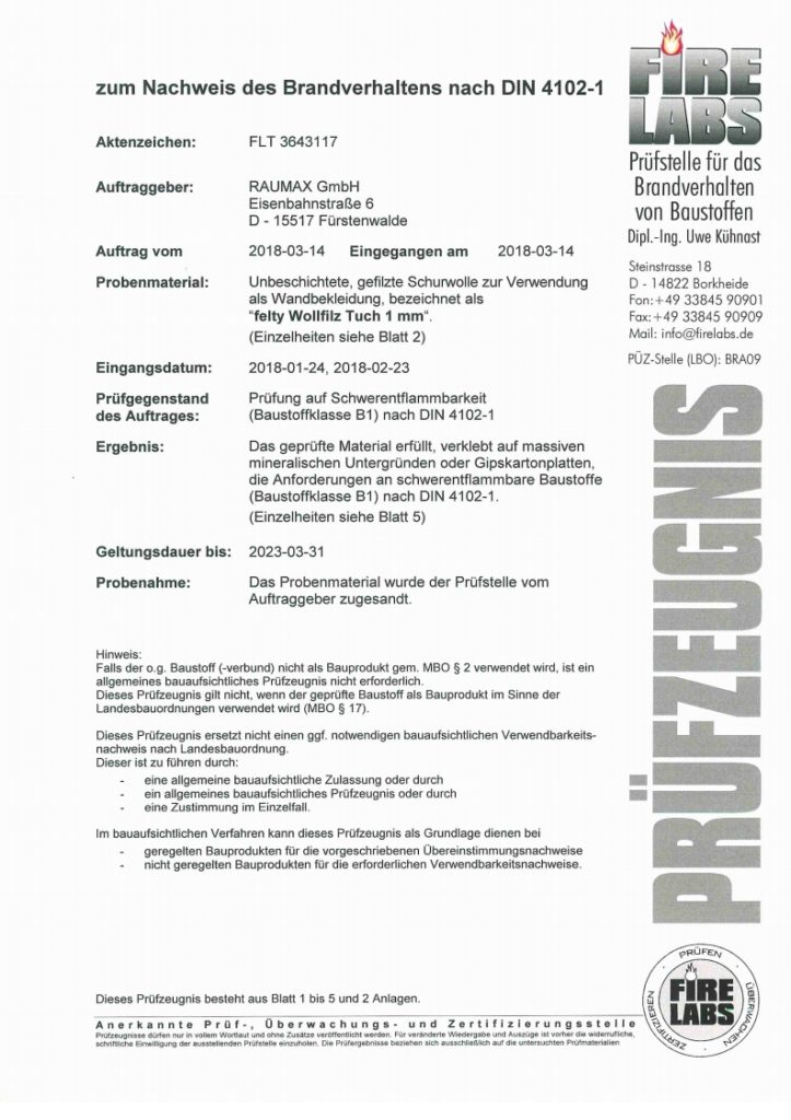 felty Filz B1 Prüfzeugnis Deutsch