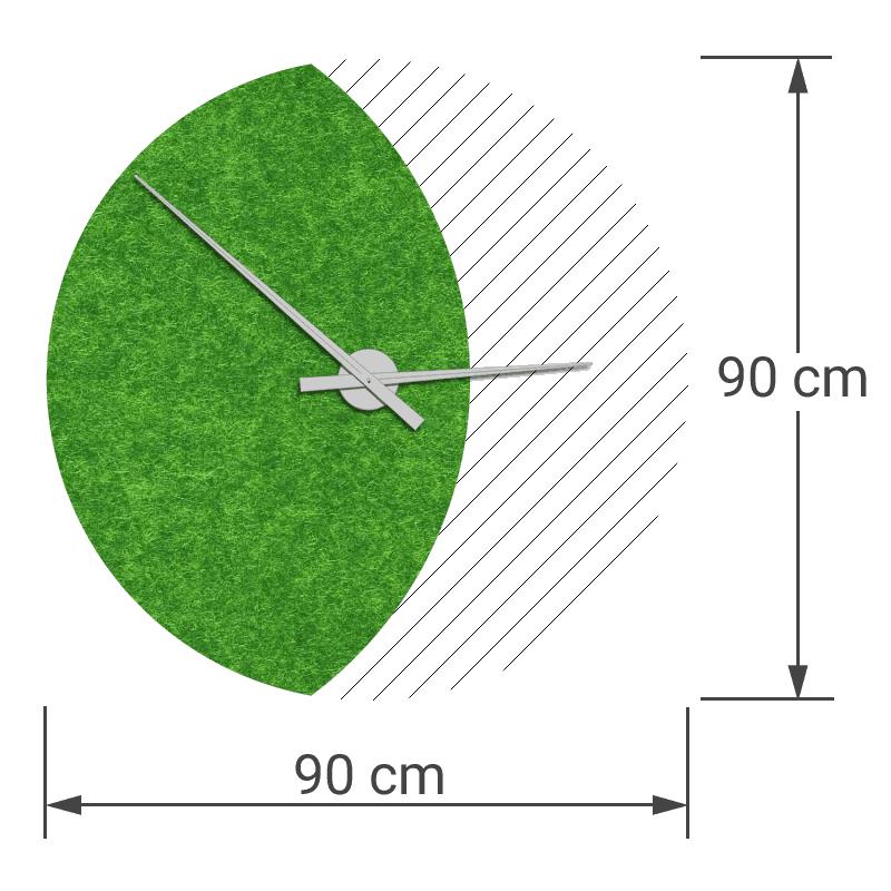 felty Filz Wanduhr Wollfilz auf Vliesplatte zur Wandgestaltung Wohnraum Modell Luna zunehmender Mond Größe L Blatt 01 Farbe A14 grün meliert