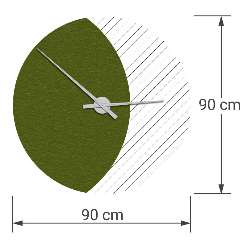 felty Filz Wanduhr Wollfilz auf Vliesplatte zur Wandgestaltung Wohnraum Modell Luna zunehmender Mond Größe L Blatt 01 Farbe A73 tundragrün