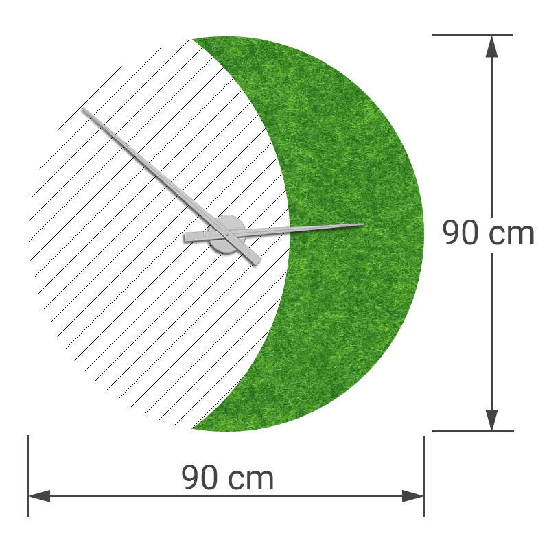 felty Filz Wanduhr Wollfilz auf Vliesplatte zur Wandgestaltung Wohnraum Modell Luna zunehmender Mond Größe L Blatt 02 Farbe A14 grün meliert