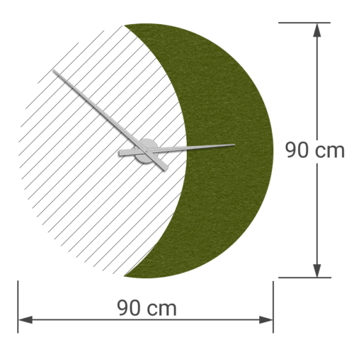 felty Filz Wanduhr auf Vliesplatte zur Wandgestaltung Wohnraum Modell Luna zunehmender Mond Größe L Wollfilz Farbe A73 tundragrün