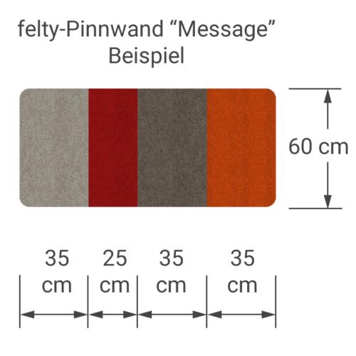 felty Filz Pinnwand Wollfilz auf Vliesplatte zur Wandgestaltung Wohnraum Modell Message Pinnwand Farbkombination aus 4 Farben Beispiel 01