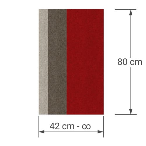 felty Filz Pinnwand Wollfilz auf Vliesplatte zur Wandgestaltung Wohnraum Modell Stripes Pinnwand Farbkombination aus 3 Farben Beispiel 01