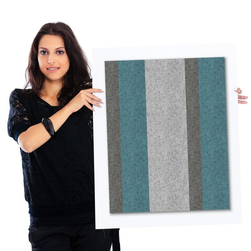 felty Filz Pinnwand Wollfilz auf Vliesplatte zur Wandgestaltung Wohnraum Modell Stripes Pinnwand Farbkombination aus 3 Farben Model 01