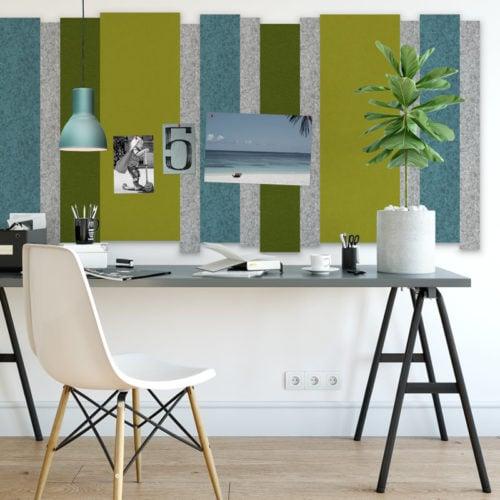 felty Filz Pinnwand Wollfilz auf Vliesplatte zur Wandgestaltung Wohnraum Modell Stripes Pinnwand Farbkombination aus verschiedenen Farben Szene 01