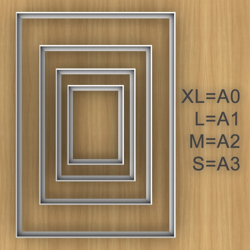 felty Filz Pinnwand Frame, Aluminiumprofil, Groessenübersicht S, M, L und XL